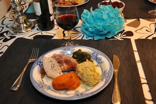 Kalkon, dressing, sötpotatis och grönkål